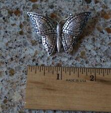 Tone Metal Butterfly Brooch - Silver