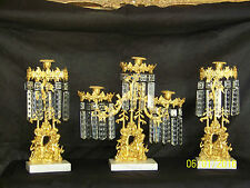c1850's 3pc Set Girandole Majestic Candelabras Phili.-N.Y. w/Crystal Gold Gilded