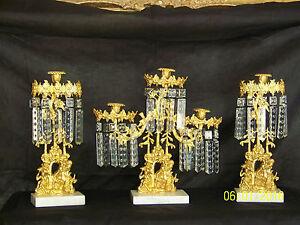 c1850's 3pc Set Girandole Majestic Candelabras Phili.-N.Y. w/Crystal Gold Gilded