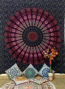 Peacock Mandala Design Queen Size Bedspread Cotton Fabric Bedspread Indian Art