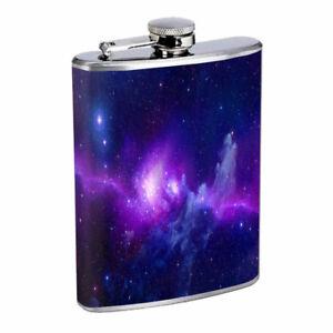 Purple Galaxy Em4 Flask 8oz Stainless Steel Hip Drinking Whiskey