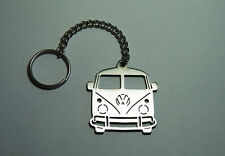 Stainless Steel Laser Cut Car Keyring VW Old Transporter for Windsurfing