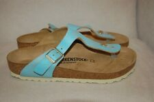 New BIRKENSTOCK Gizeh Thong Shoes Sandals Leather Washed Metallic Blue Sz 39 R