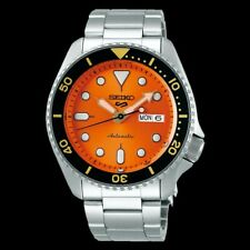 NEW Seiko 5 Sports 100M Automatic Men's Watch Gold Black Bezel Orange Dial