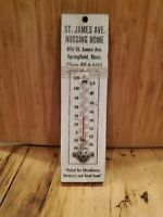 Vtg Advertising Thermometer ST. JAMES NURSING HOME SPRINGFIELD MASS PAINTED WOOD