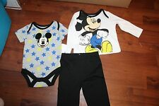 new nwt baby boys size 3-6 month 3 6 disney mickey mouse shirt pant body suit