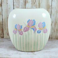 4 1/2 in Otagiri Ivory Pillow Vase Blue Pink Yellow Pastel Metallic Iris Flowers