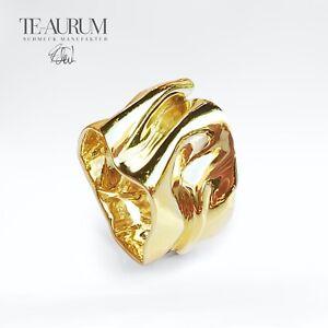 Extravaganter breiter Goldring 750 Gelbgold ► Handarbeit massiv 18K Gold Ring