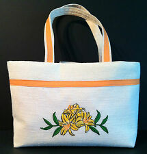 New Handmade Handbag Purse in Cream Colored Fabric Embroidered Floral Lilies