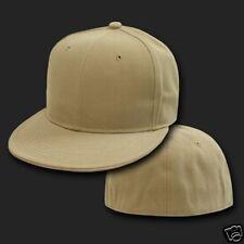 KHAKI TAN FITTED FLAT BILL BASEBALL CAP CAPS HAT 7Sizes