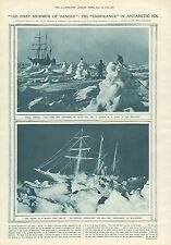 "1919 ANTIQUE PRINT- THE ""ENDURANCE"" IN ANTARCTIC ICE ,2 PRINTS"