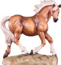 Escultura de Caballo cm 16 Tallada en Madera de en Val Gardena Decorado a Mano