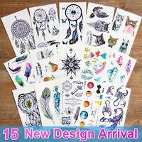 15 Sheets Temporary Tattoos Body 3d Tattoo Sticker for Men Women Kids Fake Tatoo