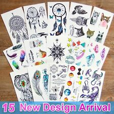15 Sheets Temporary Tattoos Body 3d Tattoo Sticker for Men Women Kids Fake Tatoo