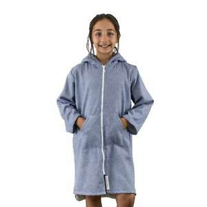 SAMMIMIS Menorca Terry/Zip Kids Hooded Towel: Navy