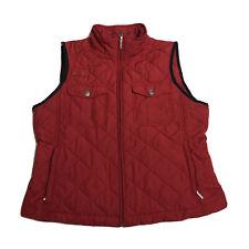 Ralph Lauren Sz PM Women Puffer Vest Red Quilted Zip Front Pocket Equestrian