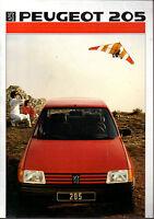 Brochure catalogue PEUGEOT 205 XT GT GTI TURBO 16 T16 SR SRD XR GR  XE XL GL XA