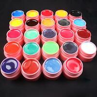 24 PCS Mix Colors Pearl UV Builder Gel Set for Acrylic Nail Art Tips - Pink
