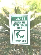 """2 signs 2 stands Clean Up After Your Dog signs 8"""" x 12"""" no dog Poop Yard green"""