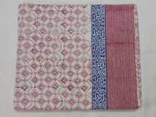 Kantha Quilt Indian Handmade Hand Block Print Bedspread 100% Cotton Queen Size