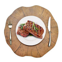 2PCS Placemat Dining Wood Pattern Dining Table Mat Non-Slip Heat Insulation Deco