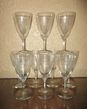 Heisey #439 Pied Piper Etch #3350 Wabash 10 oz. Footed Water Goblets Set of 10