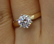 1.0 Ct 14K Yellow Gold Cathedral Round Solitaire Engagement Propose Promise Ring