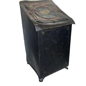 Victorian Antique Coal Wood Ash Scuttle Box Black Tin Tole Painted Fireplace