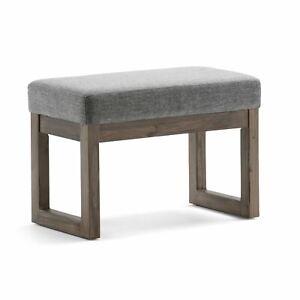 Brooklyn + Max Lewiston 27 inch Wide Contemporary Ottoman Bench in Grey Linen Lo