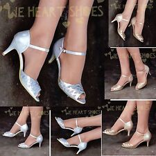 Womens Mid heel Sandals Dancing shoes with Ankle strap Peep toe Diamante Uk size