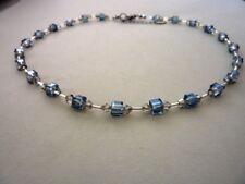 Glasperlen Würfel Kette Collier 4 - 6 mm 50 cm blau 2787/bl