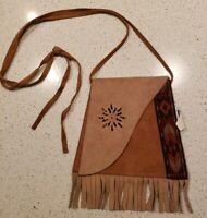 Vintage Bloom Brothers Shoulder Bag Leather Buckskin Pouch Fringed Idaho USA