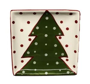 """Creative Co-Op Red Trim 11"""" Square Plate or Tray Christmas Tree & Red Dots"""