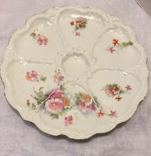 Antique Oyster Plate 6 Well French Porcelain W/pink Peonies