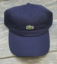 LACOSTE MINI CROC LOGO BASEBALL ADJUSTABLE DAD HAT CAP NAVY BLUE 100% auth