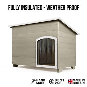 Outdoor Dog Kennel / House Winter Weather Proof Insulated - XL Natural Stone 001