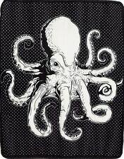 Sourpuss Octopus Soft Black and White Blanket 50 x 60 Inches