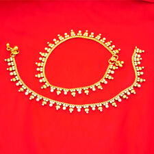 Bridal Indian Pakistani Ethnic Gold Plated Payal Anklet Pair with Soft Bells