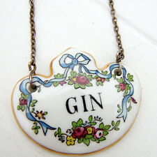 Vintage Crown Staffordshire Bone China Bow Floral Bottle Tag Gin