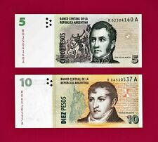 REPLACEMENT UNC BANKNOTES: 5 Pesos 2011 (P304) & 10 Pesos 2014 (P354) ARGENTINA