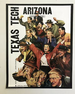 "1953 TEXAS TECH RED RAIDERS vs. ARIZONA WILDCATS 11x14"" Football Poster 11/28/53"