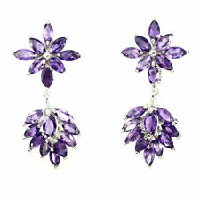 MARQUISE CUT TOP INTENSE PURPLE AMETHYST EARINGS 925 STERLING SILVER FRENCH CLIP