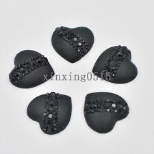 Black 10 Pcs 20mm resin heart cat's eye Flatback Rhinestone wedding buttons DIY