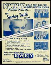 Early 1960's Vintage KWKY IOWA Concert Poster Flyer JOHNNY CASH & CARL PERKINS