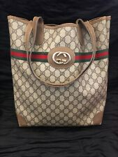 """Vintage""Gucci Sherry Web Tote Bag In Brown"