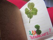 carnet avec votre vœu personnalisé + trèfle à 4 feuilles