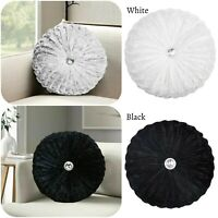 New Crushed Velvet Round Cushion Filled Small & Large Stitched with Diamond