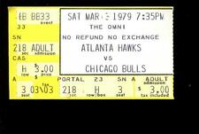 Basketball Ticket Atlanta Hawks 1979 Chicago Bulls 3/3