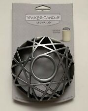 YANKEE CANDLE CROSS LACING PEWTER COLORED ILLUMA-LID JAR CANDLE TOPPER HTF