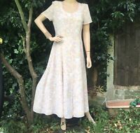 Jacques Vert Pale Pink Floral Chiffon Formal Mother Of Bride Dress Size 10